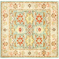 Handmade Treasures Light Blue/ Ivory Wool Rug (6' Square)