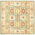 Safavieh Handmade Treasures Light Blue/ Ivory Wool Rug (6' Square)