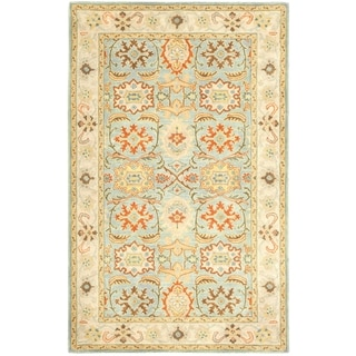 Handmade Heritage Treasures Light Blue/ Ivory Wool Rug (4' x 6')