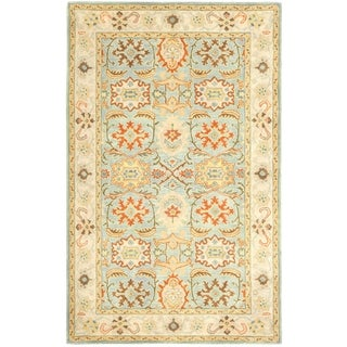 Handmade Heritage Treasures Light Blue/ Ivory Wool Rug (5' x 8')