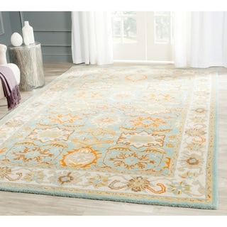 Handmade Heritage Treasures Light Blue/ Ivory Wool Rug (6' x 9')