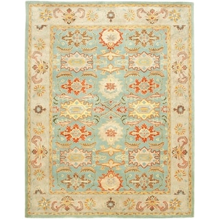 Handmade Treasures Light Blue/ Ivory Wool Rug (7'6 x 9'6)