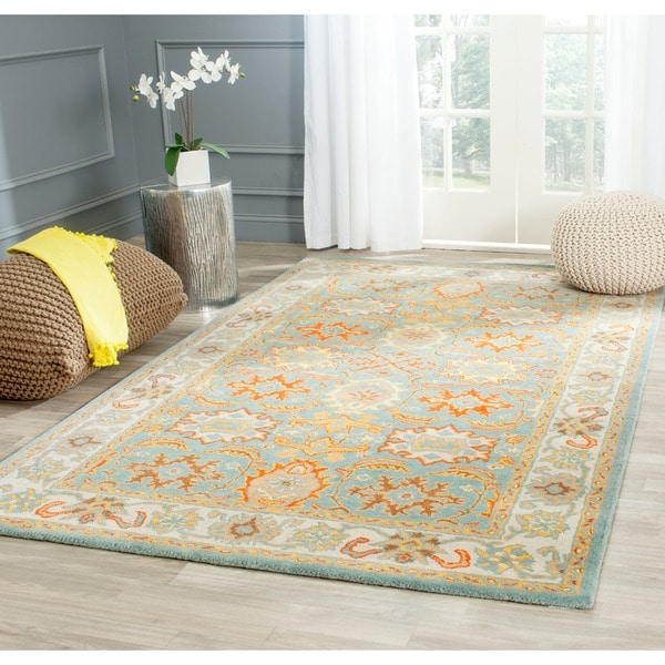 Safavieh Handmade Treasures Light Blue/ Ivory Wool Rug (7'6 x 9'6)