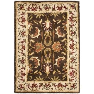 Safavieh Handmade Heritage Exquisite Brown/ Ivory Wool Rug (2' x 3')