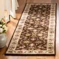 Handmade Heritage Exquisite Brown/ Ivory Wool Rug (2' x 3')