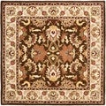 Handmade Heritage Exquisite Brown/ Ivory Wool Rug (6&#39; Square)