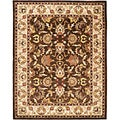 Handmade Heritage Exquisite Brown/ Ivory Wool Rug (4' x 6')