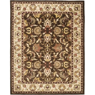Handmade Heritage Exquisite Brown/ Ivory Wool Rug (7'6 x 9'6)