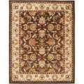 Handmade Heritage Exquisite Brown/ Ivory Wool Rug (7&#39;6 x 9&#39;6)