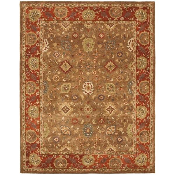 Safavieh Handmade Heritage Moss Green/ Rust Wool Rug (7'6 x 9'6)