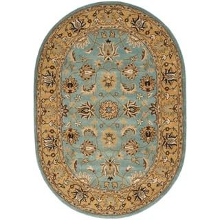 Safavieh Handmade Heritage Mahal Blue/ Gold Wool Rug (4'6 x 6'6 Oval)