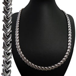 Magnetic Stainless Steel Silvertone Arrow Necklace