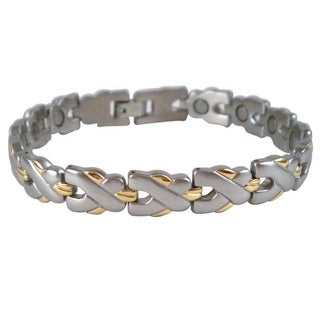 Men's Magnetic Silvertone and Goldtone Stainless Steel MTX Bracelet