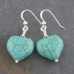 Sterling Silver Reconstructed Turquoise Heart Earrings (Thailand)