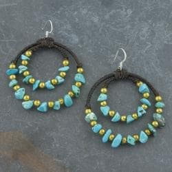 Brass Beads and Cotton Turquoise Threaded Earrings (Thailand)