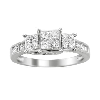14k White Gold 1ct TDW Princess 3-Stone Diamond Ring (H-I, I1-I2)