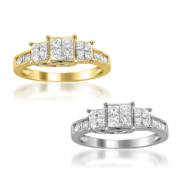 14k White or Yellow Gold 1ct TDW Princess 3-Stone Diamond Ring (H-I, I1-I2)