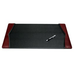 Dacasso Black-and-Burgundy Leather Desk Pad with Felt Bottom