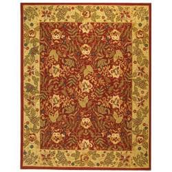 Safavieh Handmade Boitanical Red/ Ivory Wool Rug (7'9 x 9'9)