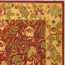 Handmade Boitanical Red/ Ivory Wool Rug (8'9 x 11'9)