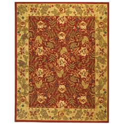 Handmade Boitanical Red/ Ivory Wool Rug (8'9 x 11'9)