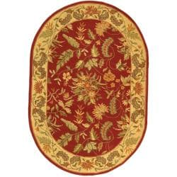 Handmade Paradise Red Wool Rug (7'6 x 9'6 Oval)