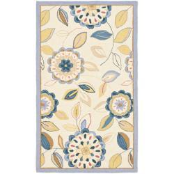 Safavieh Hand-hooked Floral Garden Ivory/ Blue Wool Rug (2'9 x 4'9)