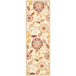 Hand-hooked Chelsea Floral Garden Ivory/ Pink Wool Rug (2'6 x 8')