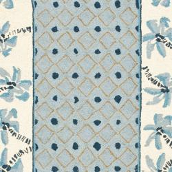 Hand-hooked Chelsea Resorts Blue Wool Runner (2'6 x 8')