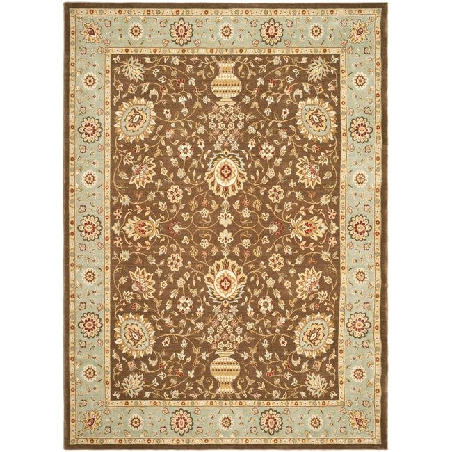 Safavieh Handmade Majesty Brown/ Light Blue N.Z. Wool Rug (8' x 11'2)