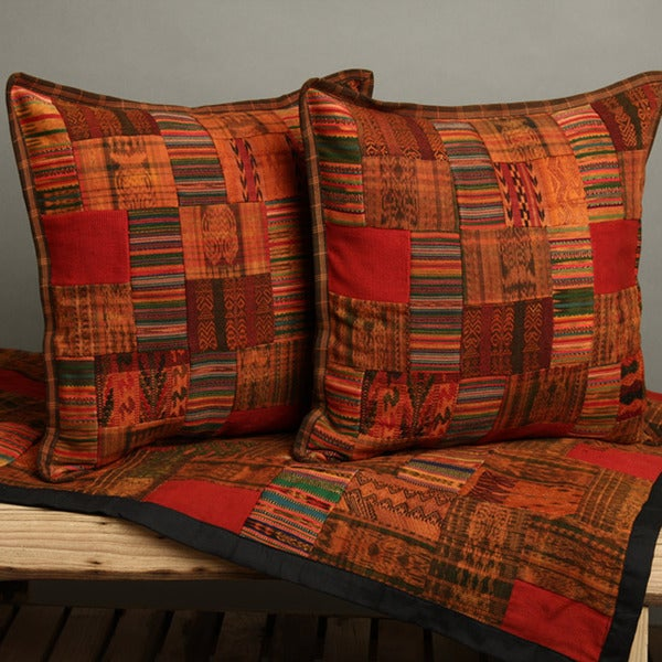 Red and Earth Tone Patchwork Quilt and Pillow Cover Set (Guatemala)