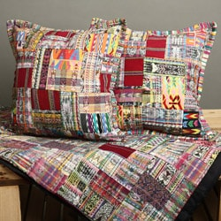 Rose and Mixed Pastel Patchwork Quilt and Pillow Cover Set (Guatemala)