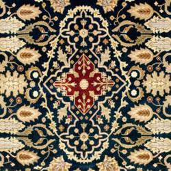 Hand-Knotted Indo Mahal Traditional Navy/Burgundy Wool Rug (9' x 12')