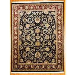 Hand-knotted Indo Mahal Navy/ Burgundy Wool Rug (9' x 12')