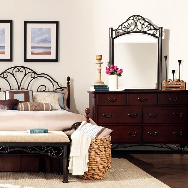 TRIBECCA HOME LeAnn Cherry Dresser and Mirror