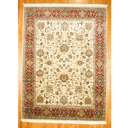 Hand-knotted Indo Mahal Ivory/ Red Wool Rug (9' x 12')
