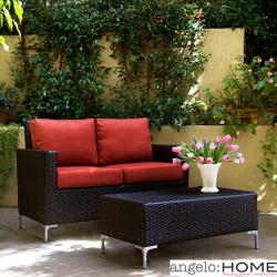 angelo:HOME Napa Springs Tulip Red 2 Piece Indoor/Outdoor Wicker Arm Loveseat and Table