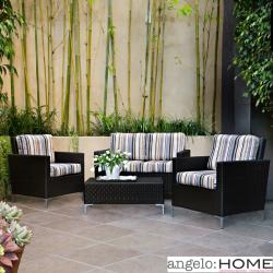 angelo:HOME Napa Springs Newport Stripe 4 Piece Indoor/Outdoor Wicker Arm Chairs, Loveseat and Table