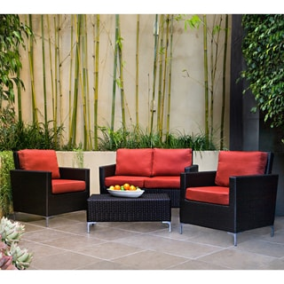 angelo:HOME Napa Springs Tulip Red 4 Piece Indoor/Outdoor Wicker Arm Chairs, Loveseat and Table