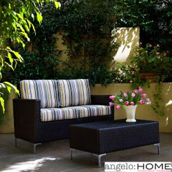 angelo:HOME Napa Springs Newport Stripe 2 piece Indoor/Outdoor Wicker Arm Loveseat and Table