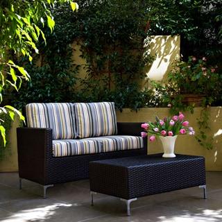 angelo:HOME Napa Springs Newport Stripe 2 piece Indoor/Outdoor Wicker Arm Loveseat and Table