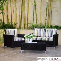 angelo:HOME Napa Springs Newport Stripe 3 Piece Indoor/Outdoor Wicker Arm Chair, Loveseat and Table