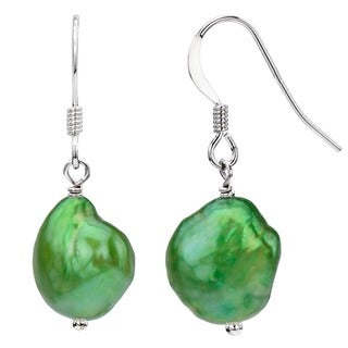 DaVonna Silver Green Baroque FW Pearl Drop Earrings (9-10 mm)