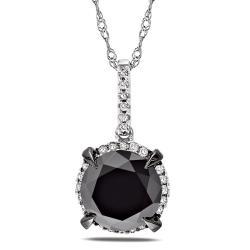 Miadora 10k White Gold 3 3/4ct TDW Black and White Diamond Halo Necklace (G-H, I2-I3)