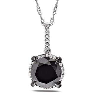 Miadora 10k White Gold 3 3/4ct TDW Black and White Diamond Halo Necklace (G-H, I2-I3)