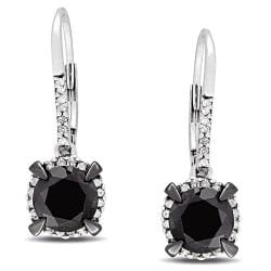 Miadora 10k White Gold 2 3/4ct TDW Black and White Diamond Halo Earrings(G-H, I2-I3)