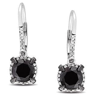 Miadora 10k White Gold 2 3/4ct TDW Black and White Diamond Halo Earrings(G-H, I2-I3)