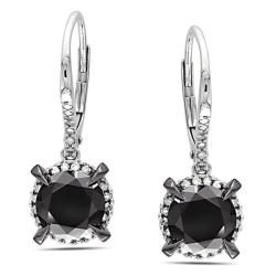 Miadora 10k White Gold 3 1/3ct TDW Black and White Diamond Earrings (G-H, I2-I3)
