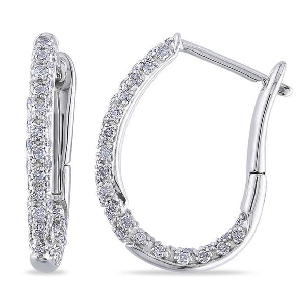 Miadora 1/2 CT Diamond TW Ear Pin Earrings 10k White Gold GH I2;I3