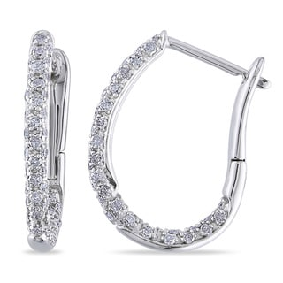 1/2 CT Diamond TW Ear Pin Earrings 10k White Gold GH I2;I3